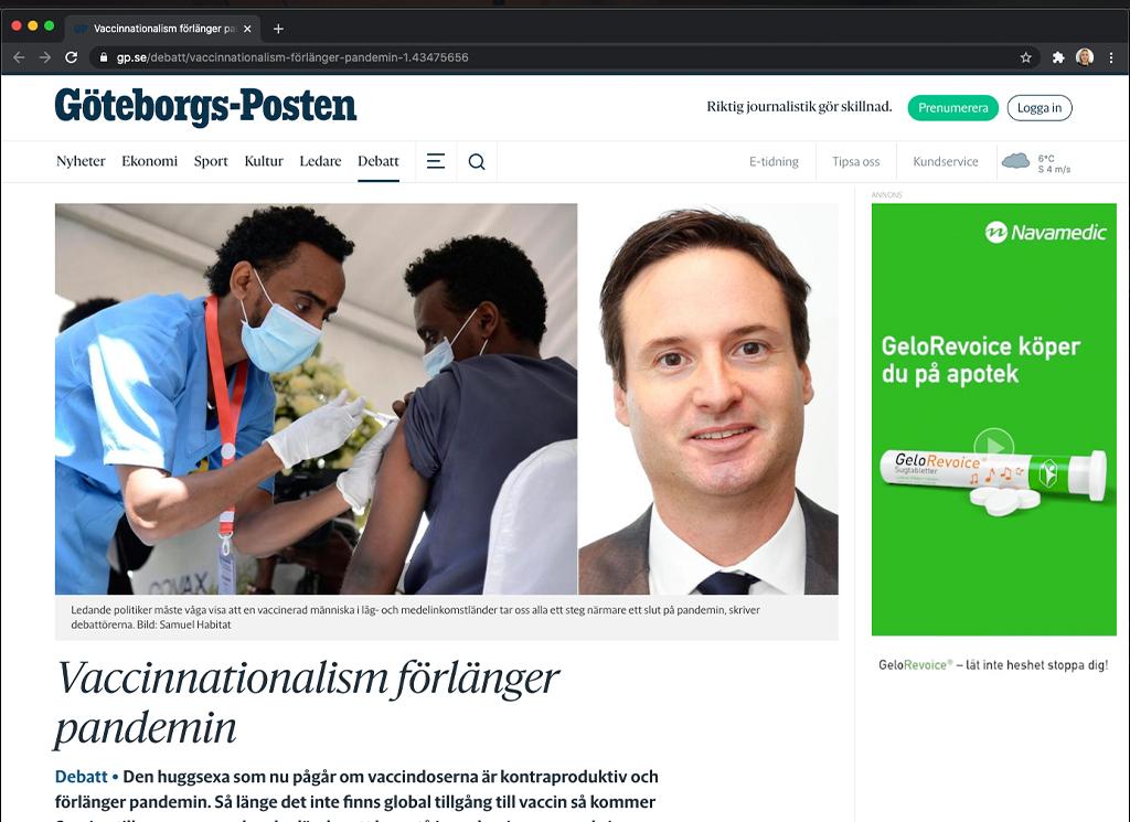 Skärmavbild Göteborgs-Posten 210326